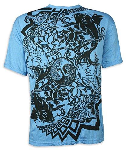 Yin Yang Grün T-shirt (Pure Herren T-Shirt- Ying & Yang Kois Buddha Tattoo Japan Fische Tao Yoga (Blau L))