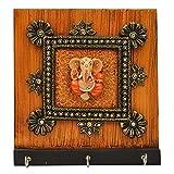 Wooden Ganesha 3 Key Holder With Kundan ...