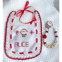 Set bebe Natale | bavaglino bavetta | catenella portaciuccio con nome personalizzabile | idea regalo | ilnodocreativo