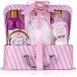 Accentra Set De Baño Y Ducha Princess Kitty Para Mujeres Y Niñas, Con Dulce Aroma A Fresa Y Vainilla, 7 Piezas En Estuche De
