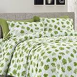 Couple taies d'oreiller Coussin Lit feuilles, avec boutons clic clac–cm 52x 82–Vert