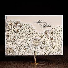 WISHMADE Einladungskarten Für Hochzeit Geburtstag Taufe Party  Elfenbeinfarbe Lasercut Blumen Spitze Design Blanko Set 50 Stücke