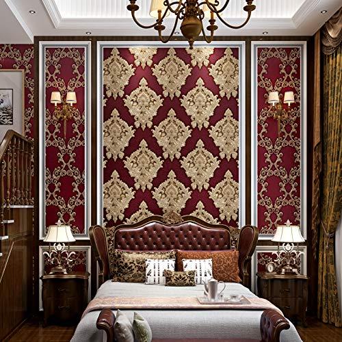 yhyxll 3D Stereo europäischen Damaskus Tapete wasserdicht Gold warm dekorative Tapete TV Hintergrund Tapete 2