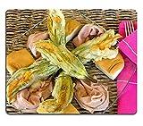 luxlady Gaming Mousepad Essen und Getränke Italienische Vorspeisen Fried Zucchini Blumen mit Mortadella Kalten Schnitt und scamorza Käse Bild-ID 7152537