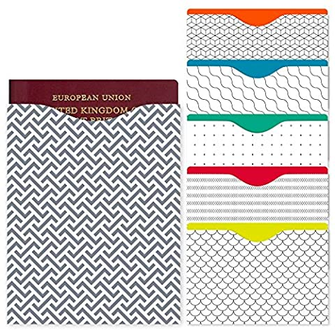 RFID BLOCKING SLEEVE | Contactless Card Protection For Stylish People | 5 Credit Card Protector Sleeves & 1 RFID Passport Sleeve | Limited Edition Designer RFID Sleeves for Passports and Credit Cards