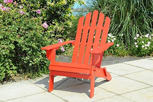 Sunjoy s-dnc1009pwd Adirondack-Holz-Terrasse Möbel-Stuhl, zusammenklappbar, Rot, 73x 95,5x 89cm