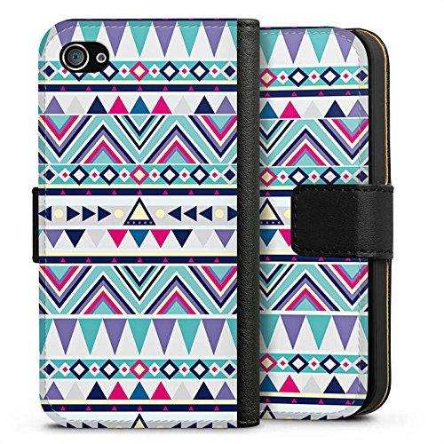 Apple iPhone X Silikon Hülle Case Schutzhülle Muster Dreiecke Bunt Sideflip Tasche schwarz