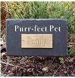 """Greenkey Gedenktafel für Haustiere mit Aufschrift """"Purr-Fect Pet"""", rechteckig, Schiefer"""