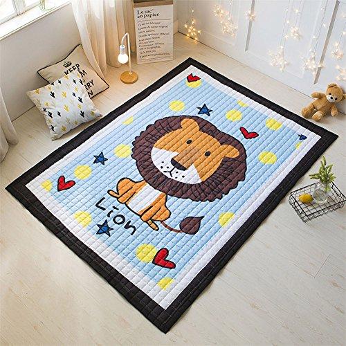 blue page Blau Seite Cartoon Play Teppich Panda–Spielzimmer Mats Chic Teppiche Erwachsene Twin Größe mit Seiten Kinder Kleinkind, Polyester, löwe, 57x77inch