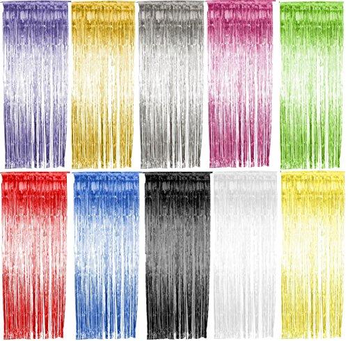 (Foxxeo 35011 | Lametta Vorhang 91x244 cm, verschiedene Farben, Farbe:Gold)