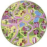 havatex Kinderteppich Candy Town bunt rund - Spielteppich schadstoffgeprüft pflegeleicht schmutzabweisend strapazierfähig| Kinderzimmer Spielzimmer, Farbe:Multicolor, Größe:150 cm rund