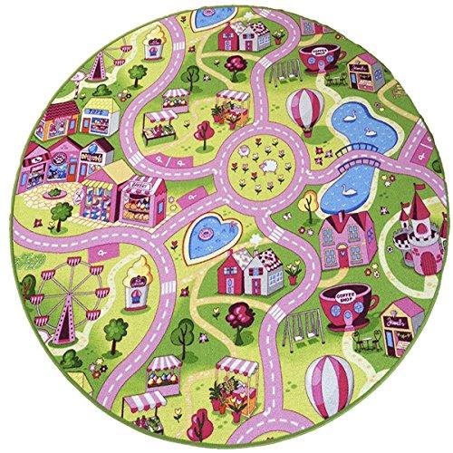 havatex Kinderteppich Candy Town bunt rund - Spielteppich schadstoffgeprüft pflegeleicht schmutzabweisend strapazierfähig| Kinderzimmer Spielzimmer, Farbe:Multicolor, Größe:133 cm rund