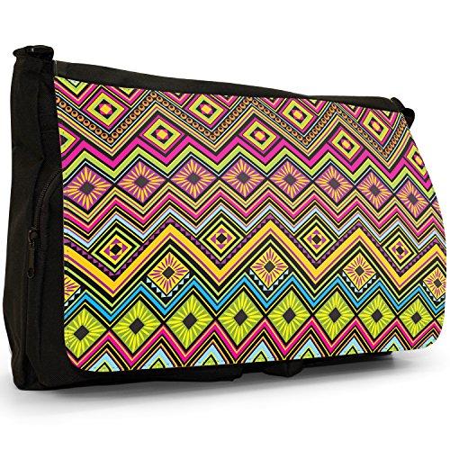 Messicano Azteco Tribale modelli tradizionali–Borsa Tracolla Tela Nera Grande Scuola/Borsa Per Laptop Green Yellow Diamonds Maya