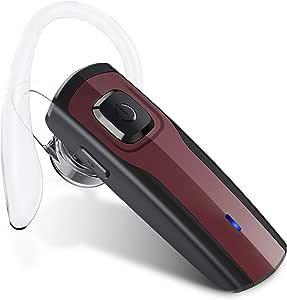 Bluetooth Headset, V4.1 Drahtlos Kopfhörer Bluetooth Ohrhörer mit Mikrofon, Rauschunterdrückung Funk-kopfhörer für LKW-Fahrer, Wireless Headset für iPhone Handys Hörmuschel (Red_HD)