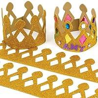 Baker Ross Couronnes dorées en mousse paillettée (Lot de 5) - Loisirs créatifs pour enfants