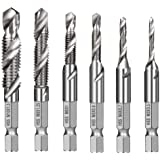 Electomania Hex Shank HSS Quick-Change Combined Tap Screw Drill Bit M3/4/5/6/8/10- Set of 6
