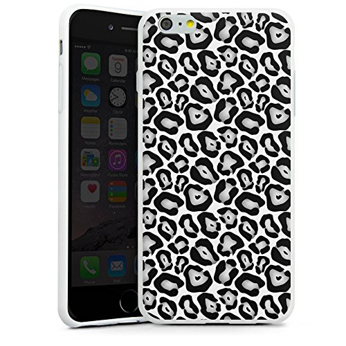 Apple iPhone X Silikon Hülle Case Schutzhülle Tiere Graues Leo Fell Look Black and White Silikon Case weiß