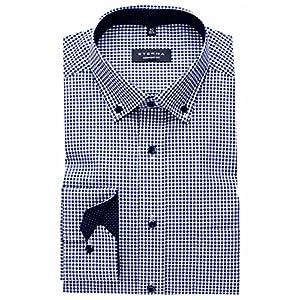 eterna Hemd Comfort Fit Button-Down-Kragen Patch 4176/19 E144, Blau Weiß, 43