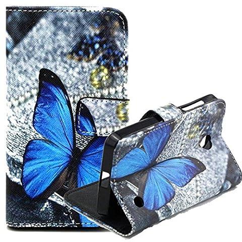 AYASHO® Nokia Lumia 630 / 635 Coque - Etui de Protection PU Cuir Portefeuille Coque Housse Case Cover Coquille Couverture avec Fonction Stand et Fentes de Carte de Crédit pour 4,5 Pouces Nokia Lumia 630 / 635, A06