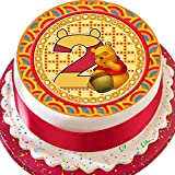 Cannellio Cakes pretagliato commestibile glassa Topper per Torta – 19,1 cm Rotondo Winnie Pooh Age 2 Birthday