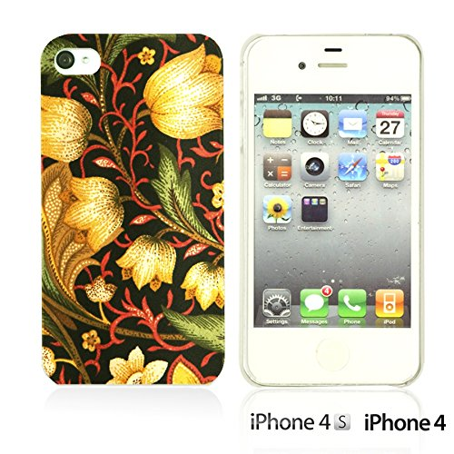 OBiDi - Flower Pattern Hardback Case / Housse pour Apple iPhone 4S / Apple iPhone 4 - Green and Red Rose Gold Flower Patter