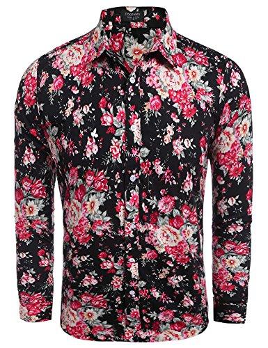 Coofandy Camisa Hawaina Hombre de Flores Long Sleeve Shirt Flor azul L