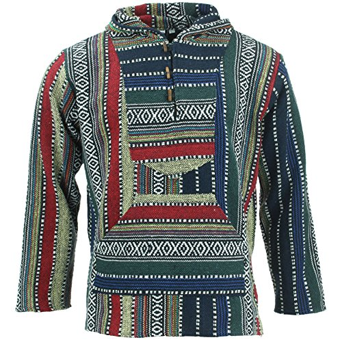 LOUDelephant Woven Cotton Baja Hoodie - Blue, Green & Red