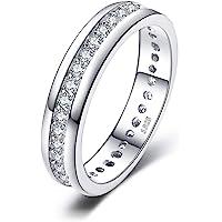 JewelryPalace Cubic Zirconia Anniversario Matrimonio Band Eternità Anello Canale Set 925 Sterling Argento