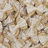 Nœuds décoratifs en toile de jute et dentelle - Blanc - Aspect rustique - Pour fête de mariage, décoration de sapin de Noël , kaki, 50pcs