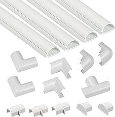 D-Line 3015KIT001 Mini, Selbstklebender, Runder Weißer Kabelkanal, Multipack 30x15 mm, 1 m Länge