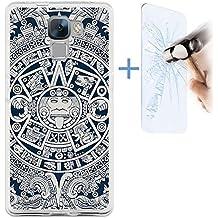 Funda Gel Flexible Huawei Honor 7 BeCool Azteca Calendario [ +1 Protector Cristal Vidrio Templado ] Carcasa Case Silicona TPU Suave