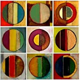 The Stupell Home Décor Collection Textured Circles Green And Red 9 Pc Wall Art Set, 9 Piece