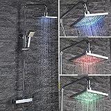 Homelody LED Duscharmatur mit Thermostat Duschsystem Dusche Regendusche Duschkopf Handbrause Duschgarnitur Duschset Rainshower Duschpaneel Duschstange Überkopfbrause Badewanne f. Badezimmer