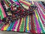 Pequeña alfombra trenzada de 60cm x 90cm de algodón yute multicolor. Alfombra Chindi con...