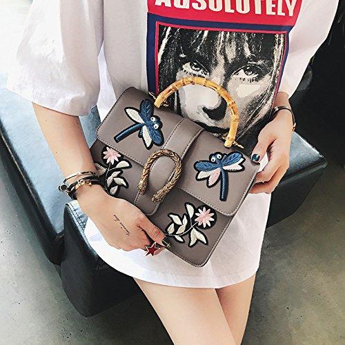Einzelne Schulter Handtasche, Bamboo Bag, Koreanischer Stil Blume gray