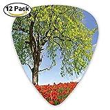 Landscape Of Blooming Poppies On The Field Majestic Tree Rural Terrain Habitat Guitar Picks 12/Pack