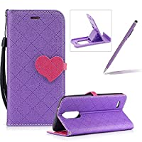 Strap Leather Case for LG K8 2017,Grid Checked Smart Leather Cover for LG K8 2017,Herzzer Stylish Love Heart Magnetic Buckle Design Wallet Folio Case Full Body PU Leather Protective Stand Cover with Inner Soft Silicone Shell for LG K8 2017 + 1 x Free Purp