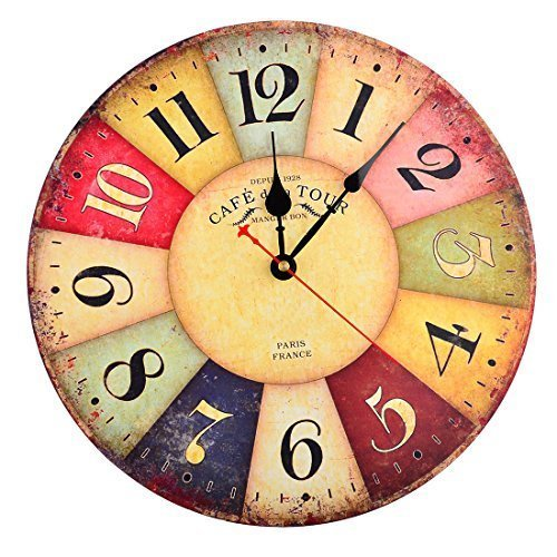 NO.1 HOME DESIGN# WALL CLOCK, FINER SHOP 12 INCH VINTAGE COLORFUL FRANCE PARIS FRENCH COUNTRY TUSCAN STYLE ARABIC NUMERALS DESIGN SILENT WOODEN WALL CLOCK HOME DECOR REVIEWS
