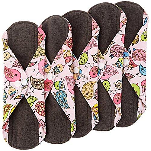Herz Filz Bamboo wiederverwendbare Tuch Pads Menstruationstasse (5Pack, Medium Flow) mit anthrazit Saugfähigkeit Schicht, waschbar Sanitär Servietten, über Nacht lang Slipeinlagen (Bird Print) (Stoff Baumwolle Elemente)