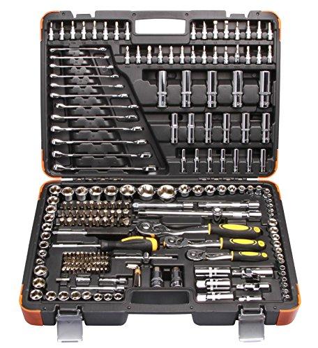 """Preisvergleich Produktbild Steckschlüsselsatz 216 TLG 1 / 4"""" 1 / 2"""" 3 / 8"""" Knarrenkasten Werkzeugkoffer Ratsche Knarre Nuss"""