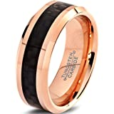Charming Jewelers Tungsten Wedding Band Ring 8mm Men Women Comfort Fit Black Carbon Fiber 18K Rose Yellow Gold Plated Bevel E