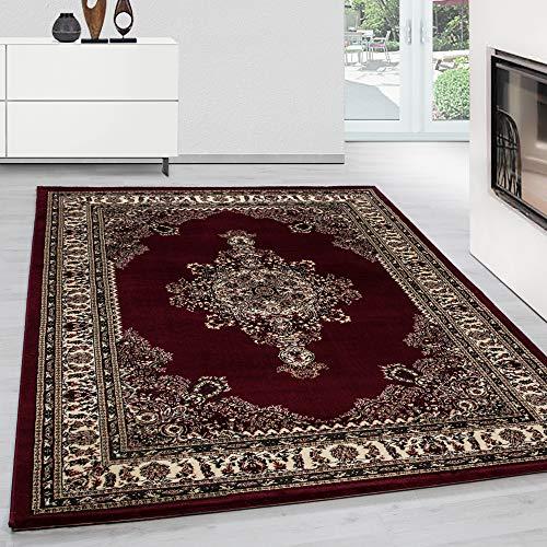 Oriental Rug (Orientteppich Klassische Optik Orientalisch Traditional Medaillion Rot Beige, Maße:120 cm x 170 cm)