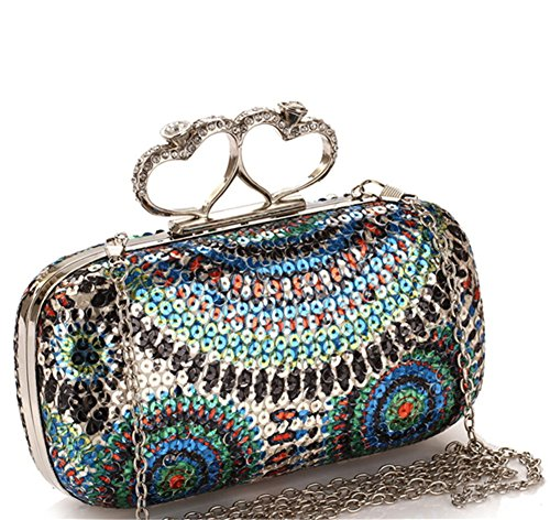 ERGEOB® Donna Clutch sacchetto di sera borsetta sacchetto di spalla Clutch colorato sacchetto paillettes Blingbling stile Azzurro