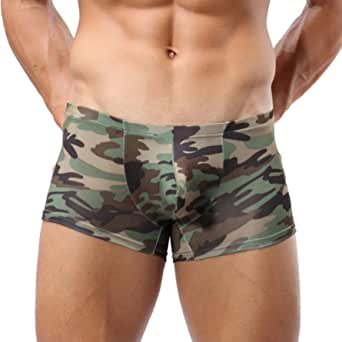 LHWY Military Men's Camouflage Boxer Pants Briefs Trunks Underwear Underpants Bulge Posing Pouch Funny
