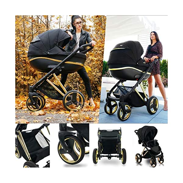 SaintBaby Stroller Buggy Baby seat Car seat Next II Gold Chrome Gold N1 4in1 with Isofix SaintBaby If you want the black frame instead of the gold frame, please inform us after the purchase. 3in1 or 2in1 Selectable. At 3in1 you will also receive the car seat (baby seat). Of course you get the baby tub (classic pram) as well as the buggy attachment (sports seat) no matter if 2in1 or 3in1. The car naturally complies with the EU safety standard EN1888. During production and before shipment, each wagon is carefully inspected so that you can be sure you have one of the best wagons. Saintbaby stands for all-in-one carefree packages, so you will also receive a diaper bag in the same colour as the car as well as rain and insect protection free of charge. With all the colours of this pram you will find the pram of your dreams. 4