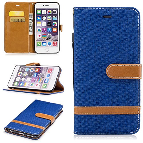 iPhone 6 Plus Coque, Voguecase Étui en cuir synthétique chic avec fonction support pratique pour Apple iPhone 6 Plus/6S Plus 5.5 (toile de jean-gris)de Gratuit stylet l'écran aléatoire universelle toile de jean-saphir