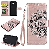 (European version)Galaxy J730 / J7 2017 / J7 Pro 2017 Wallet Case, EST-EU Retro Mandala Embossing PU Leather Stand Function Protective Covers with Card Slot Holder Wallet Book Case for Samsung Galaxy J730 / J7 2017 / J7 Pro 2017, Rose Gold