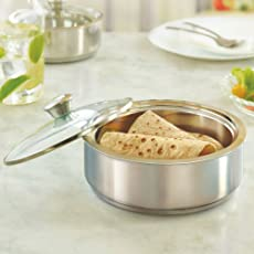 Borosil Stainless Steel Insulated Roti Server, 1.1 litres, Silver