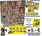 Borussia Dortmund Adventskalender Premium - Kalender gefüllt mit 25 Täfelchen Vollmilchschokolade und 35 exklusiven Autogrammkarten BVB 09 + 5 BVB Mini Schoko-Mann + 1 Großen Schokoladen Nikolaus 150g