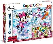 Clementoni Super Color Puzzle Disney Minnie Sport, Multi-Colour, 3 x 48 Pieces